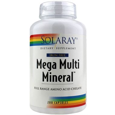 Picture of Solaray Mega Multi Mineral, Iron Free, 200 caps
