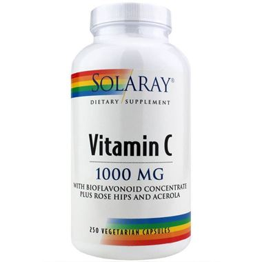 Picture of Solaray Vitamin C  Bioflavonoid Concentrate plus Rose Hips & Acerola, 1000 mg, 250 vcaps