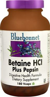 Picture of Bluebonnet Betaine HCl Plus Pepsin, 180 vcaps