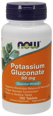 Picture of NOW Potassium Gluconate, 99 mg, 100 tabs