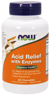 Picture of NOW Acid Relief with Enzymes, 60 chewables