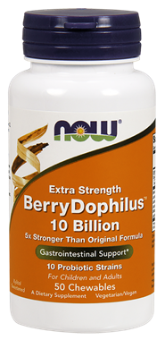 Picture of NOW Extra Strength BerryDophilus, 10 Billion, 50 chewables