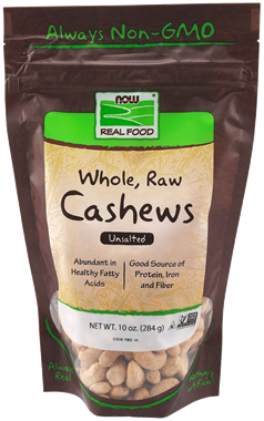 Picture of NOW Whole, Raw Cashews, 10 oz