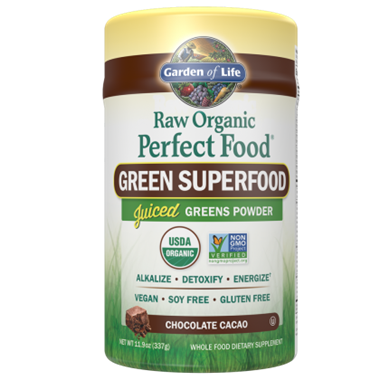 Picture of Garden of Life Raw Organic Perfect Food Green Super Food, Chocolate Cacao, 11.9 oz powder