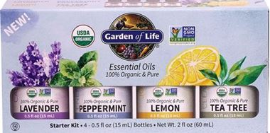 Picture of Garden of Life Essential Oils Starter Kit with Aromatherapy Diffuser, 4 - 0.5 oz bottles