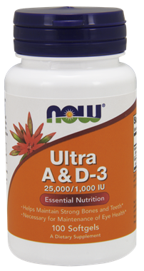 Picture of NOW Ultra A & D3, 25,000/1,000 IU, 100 softgels