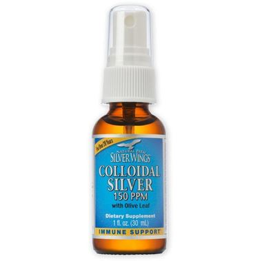 Picture of Natural Path Silver Wings Colloidal Silver 150 PPM with Olive Leaf Spray, 1fl  oz