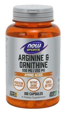 Picture of NOW Sports Arginine & Ornithine, 500/250 mg, 100 caps