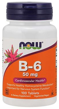 Picture of NOW B-6, 50 mg, 100 tabs