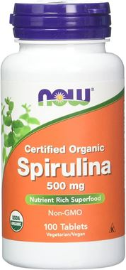 Picture of NOW Certified Organic Spirulina, 500 mg, 100 tabs