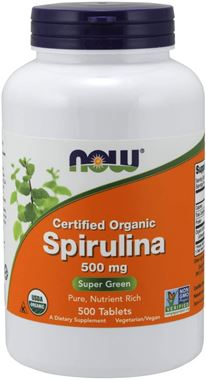 Picture of NOW Certified Organic Spirulina, 500 mg,  500 tabs