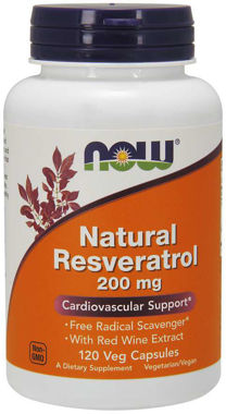 Picture of NOW Natural Resveratrol, 200 mg, 120 vcaps